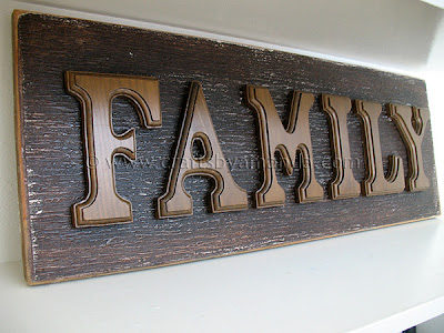 Wooden letter family sign crafts by amanda for Wooden letters for crafts