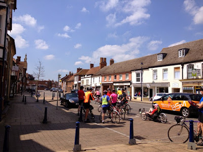 Group stopped in pretty high street