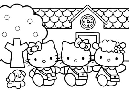 Hello Kity and friends coloring pages