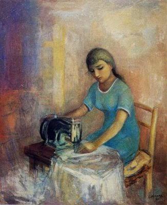 Costurera con máquina antigua