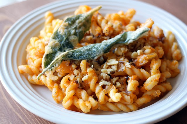 Butternut Squash Pasta with Battered Sage Leaves from dontmissdairy.com