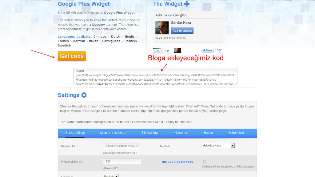 Google Plus Widget Kod