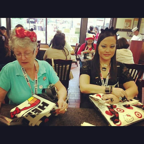 Wendy Hughes and I take a bento lunch break in Little Tokyo (photo by Heather Henderson).