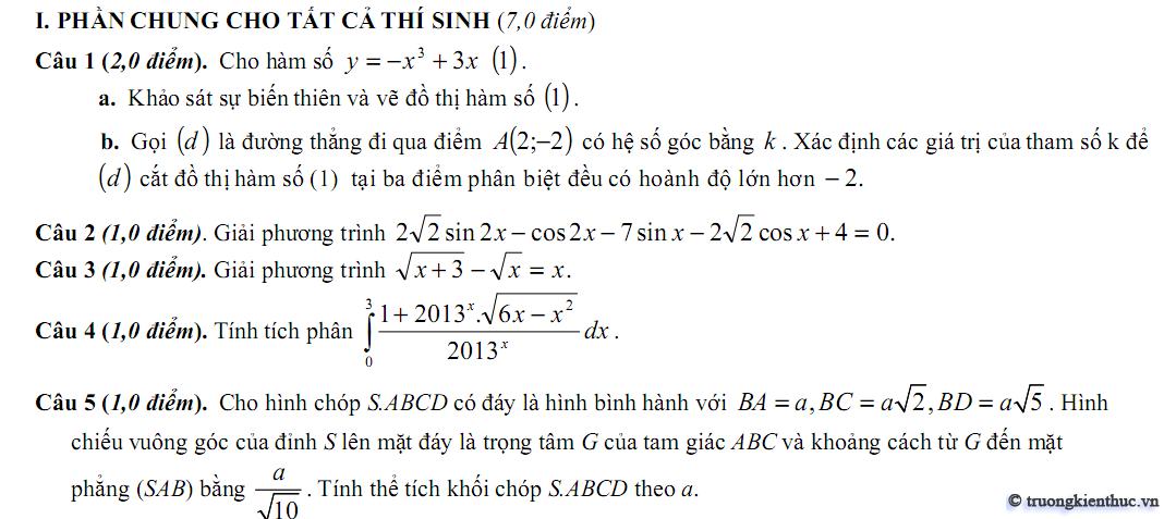 Đề thi thử môn Toán khối A B D (THPT Dương Đình Nghệ, Thanh Hóa)