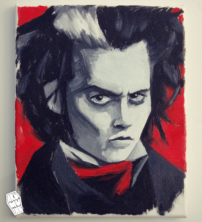 sweeney todd, sweeney todd art, tim burton movie art, tim burton movie painting, johnny depp fanart, buy fanart, buy custom portrait