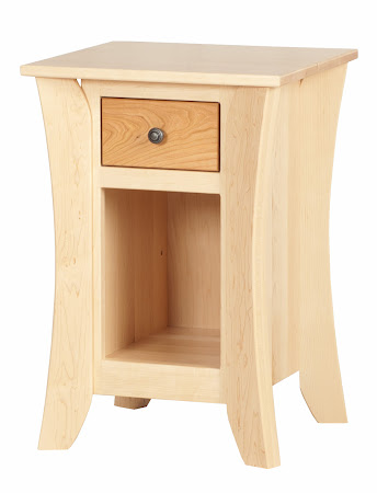 Kyoto Nightstand with Shelf, in Natural Hard Maple with Natural Cherry Drawers