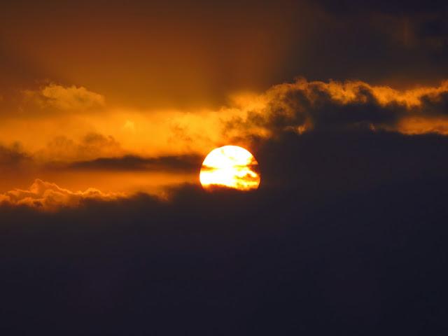 曽根干潟の夕日-2