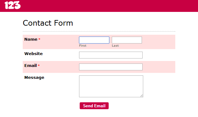 Remove the error message from an online form? - 123ContactForm Help