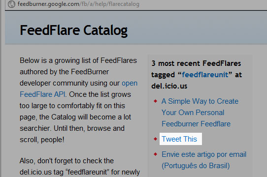 Copie o link do Tweet This no catálogo do FeedFlare