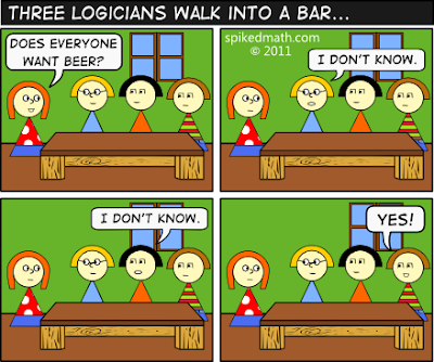 Three logicians walk into a bar, from Spiked Math via Language Log