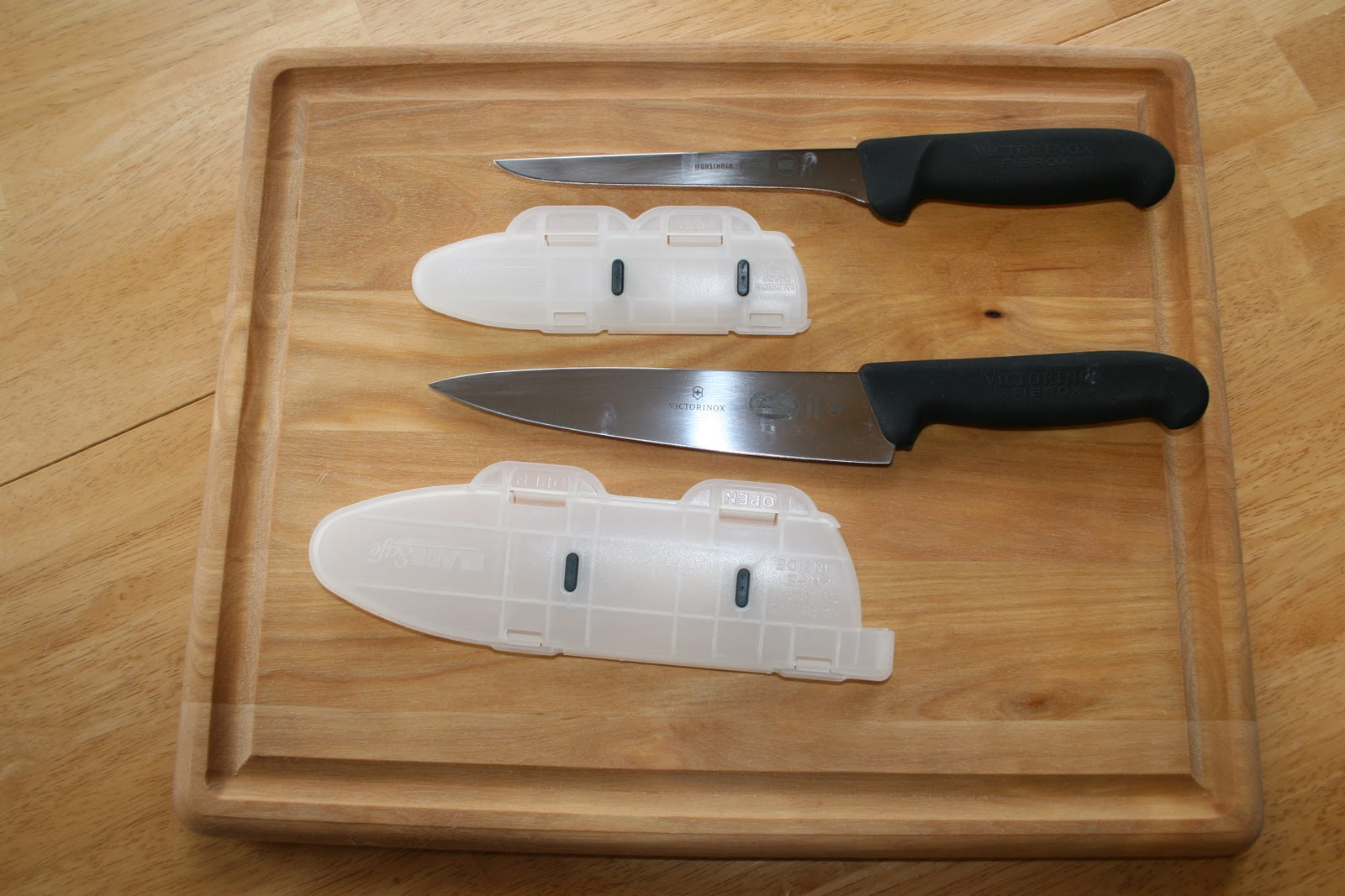 The hunger extinguisher new knives and cutting board
