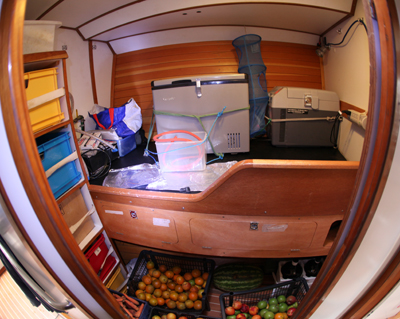 Storage at the front of the boat…
