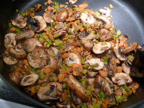 mushrooms ready as they release juices for flour step of chicken fricassee