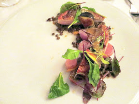 Bouillon Bilk in Montreal, guinea fowl, lentils, radish, yellow feet mushrooms, figs