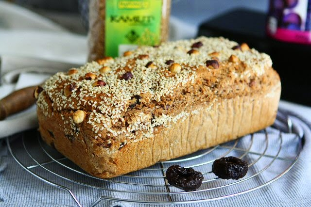 Kamut Spelt Bread with Dried Plums, Hazelnuts and Sesame