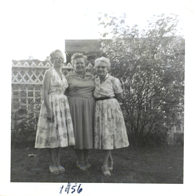 Mom with Aunties Marjorie & Mildred. Earlington 1956, Renton, Washington.