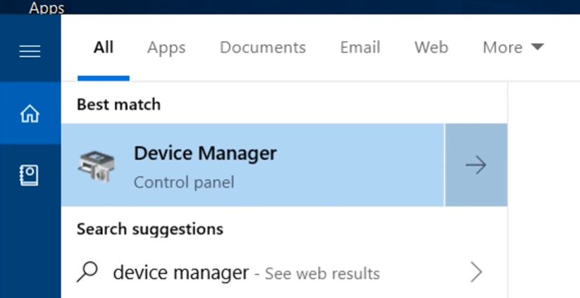 """click on """"Device Manager""""."""