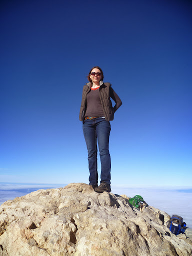 Claire standing on top of Spain