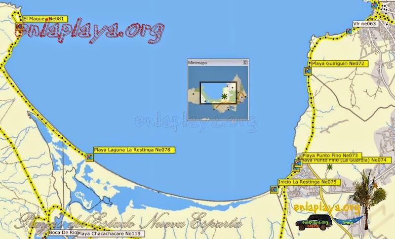 Mapa de Playas del sector La Restinga