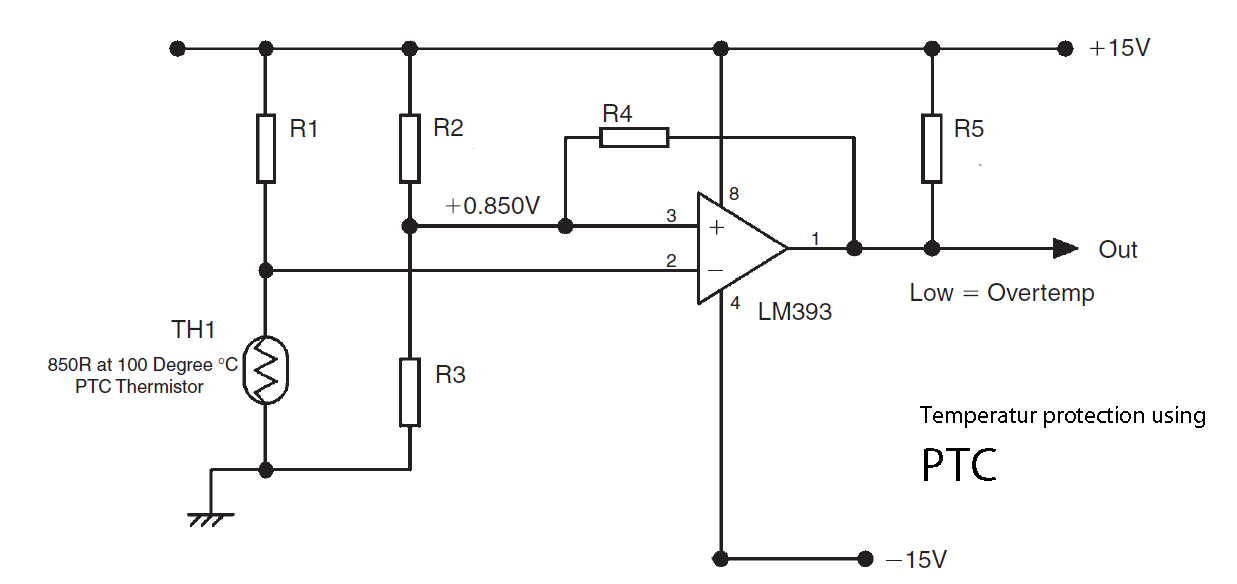 temperature protection using ptc and lm393