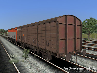 Fastline Simulation: A work weary maroon liveried VDA van from lot 3855 for RailWorks.