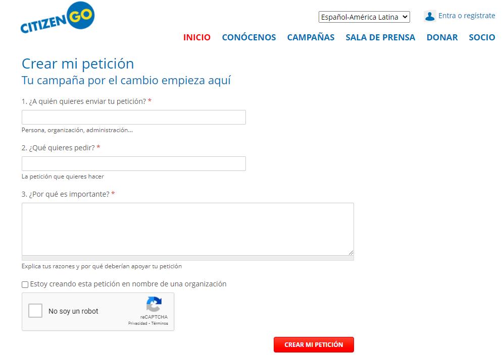 Imagen de la página que presenta el formulario para ingresar a CitizenGo