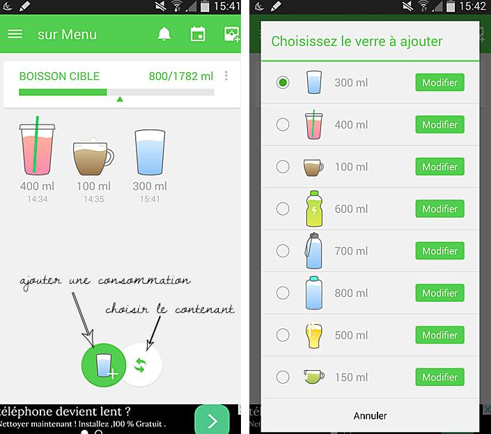 application smartphone, application pour boire plus d'eau, évaluer sa consommation d'eau, comment boire plus, hydrater l'organisme