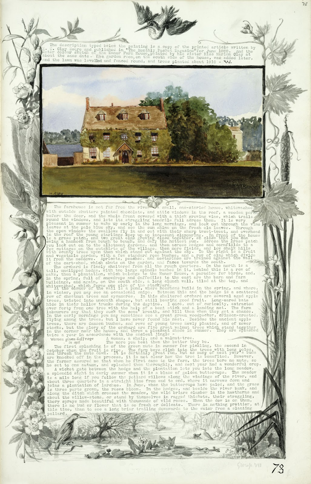 A Record of Shelford Parva by Fanny Wale P73 fo. 75, page 73: A black and white watercolour border of pond life scenes surrounds a coloured watercolour of the Manor Farm House with a description of it and its grounds from the 'Monthly packet magazine' of June 1888. [not in photographic copy]