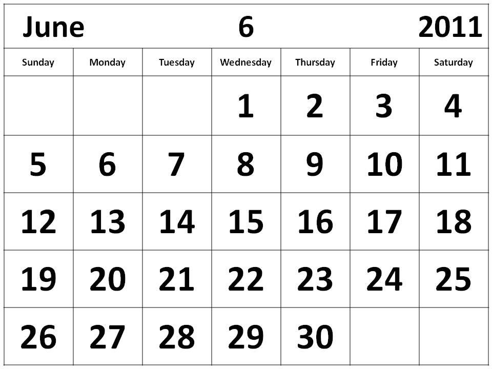 printable june 2011 calendar. Monthly 2011 Calendar June