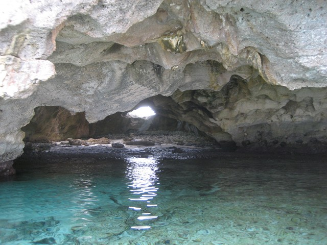 Flamingo Cay cave lighted