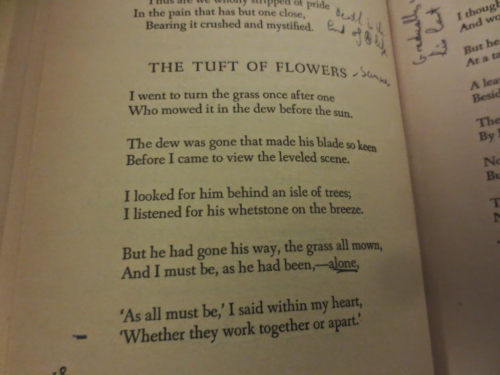 the combination of thought and imagery in robert frosts poem the tuft of flowers How to write a poetry essay establish a point of view: i'm going to declare that i like the poetry of robert frost for the following reasons: in 'the tuft of flowers' we see frost feeling isolated and alone however.