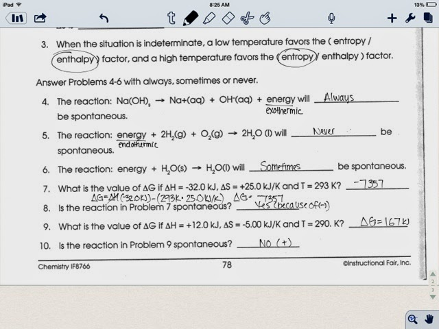 Chemistry Blog Entropy Gibbs Free Energy Worksheet 4 10