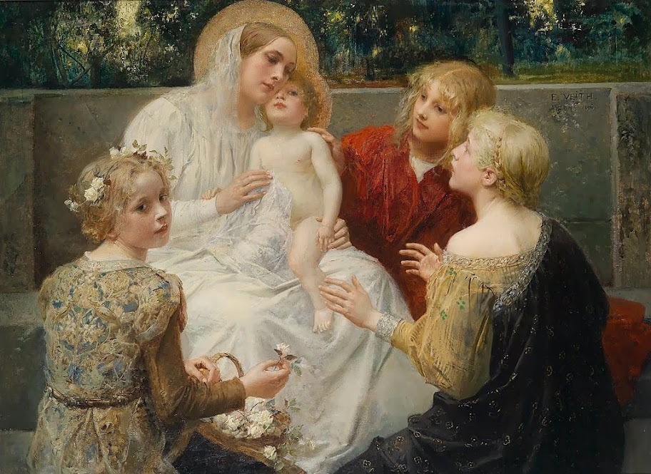 Eduard Veith - Madonna With Jesus Surrounded By Children 1896