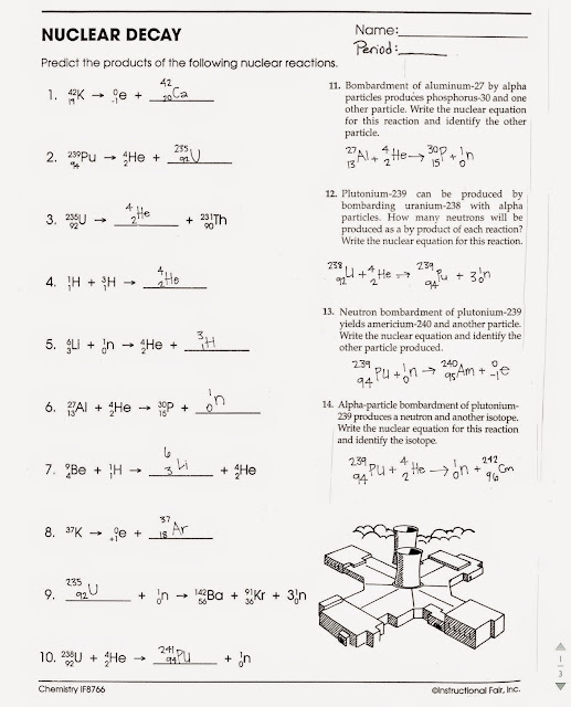 {Tom Schoderbek Chemistry Nuclear Decay Halflives Worksheet – Nuclear Decay Worksheet