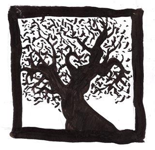 arbre peint
