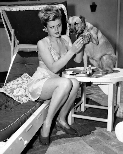 Angela Lansbury and a dog