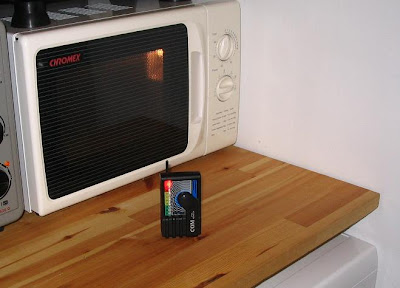 A microwave is a source of high frequency radiation when it is working and low frequency radiation when it is connected to the power supply