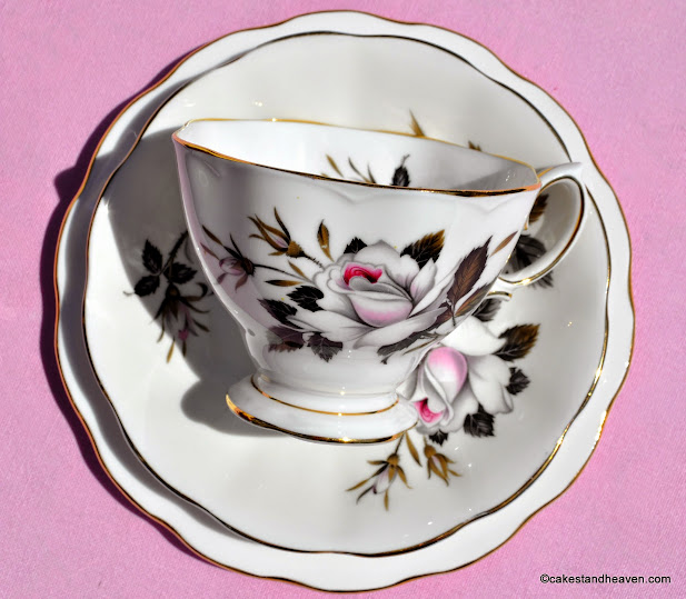 Vintage Queen's Messenger Bone China Teacup, saucer and tea plate