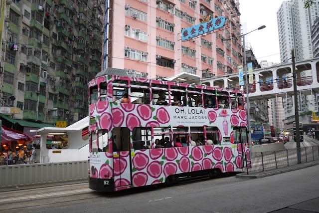 Tram in Hong Kong with Marc Jacobs advertising