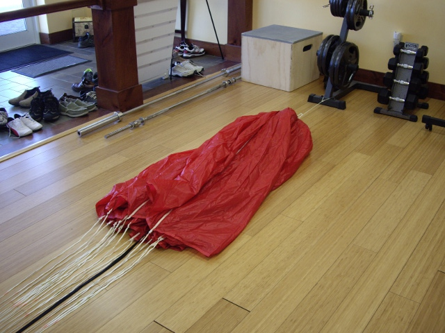 Reserve parachute ready for repacking