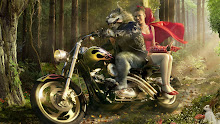 wolf little red riding hood artwork harley davidson 3d 1920x1080 wallpaper