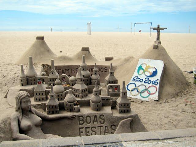 Sandcastle on Copacabana Beach in Rio de Janeiro Brazil