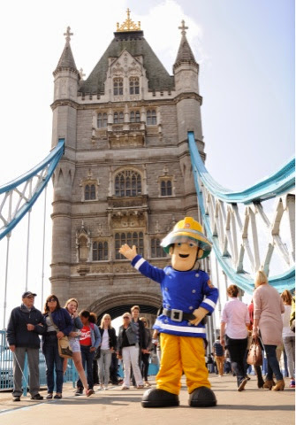 Fireman Sam  outside Tower Bridge at the Fireman Sam Ocean Rescue event