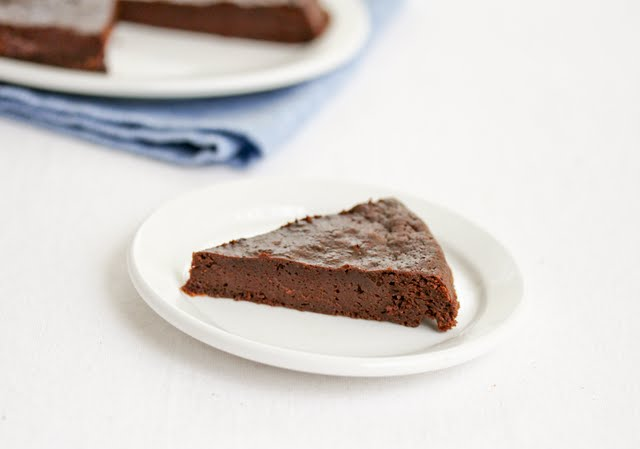 photo of a slice of cake on a white plate