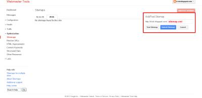 Tambah sitemap di perkakas webmaster