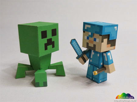 Minecraft Diamond Steve Papercraft