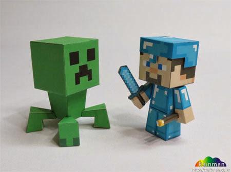 Minecraft Diamond Steve Papercraft