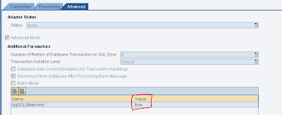 SAP PI SQL Log - Advanced Tab into Communication Channel Parameters