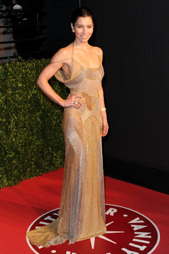 Jessica Biel arrives at the Vanity Fair Oscar party