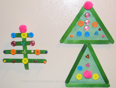 Craft stick Christmas tree magnets